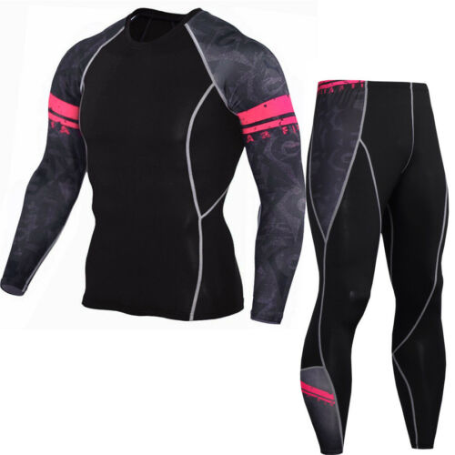 Herren Sport Fitness Laufhose T-Shirt Hose Set Kompressionsshirt Funktionswäsche