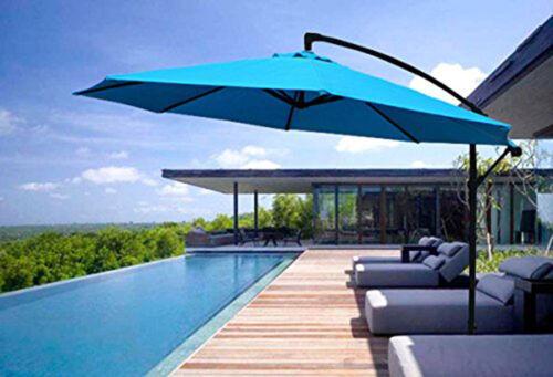 10ft Deluxe Outdoor Garden Pool Patio Umbrella Hanging Offset w// Crank Tilt Blue