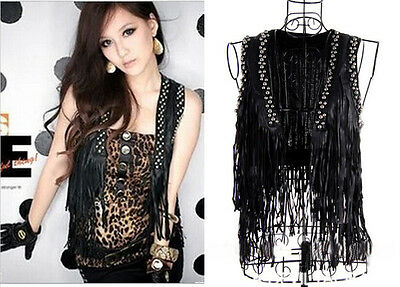 Fashion Visual punk Gothic Rock Jazz tassel rivet PU Black Shirt Vest