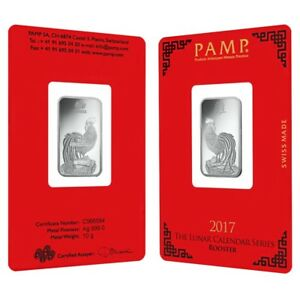 10 Gram Pamp Suisse Year Of The Rooster Silver Bar In