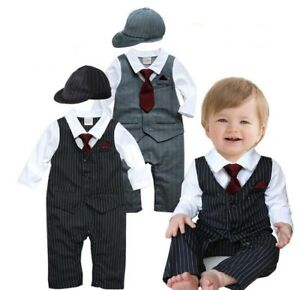 Baby-Boy-Wedding-Christening-Tuxedo-Suit-Outfit-One-Piece-Romper-Formal-Clothes