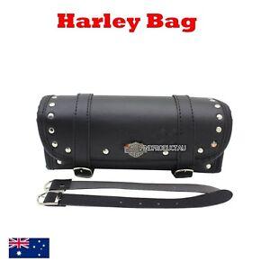 Front-rear-Fork-leather-Tool-Luggage-bag-Harley-Chopper-Softail-dyna-cruiser-BLK