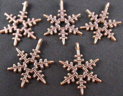 50 Pcs Antiqued copper snowflake charms 18mm FC353C