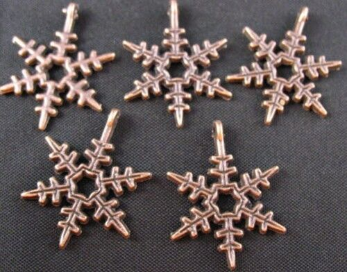 20 Or 50PCs Snowflake 18mm Antiqued Silver Plated Winter Charms C7504-10
