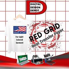 Heat Transfer Paper Red Grid Light T Shirt Inkjet Paper Iron On 100 Sh 85x11