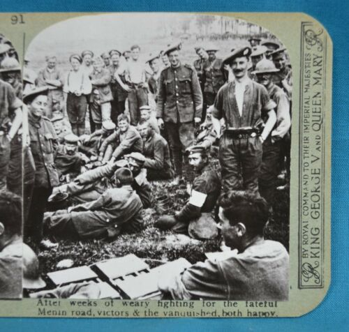 WW1 Stereoview Photo After Menin Road Victors & Vanquished Both Happy Realistic