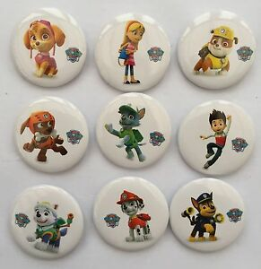 NEW-PAW-PATROL-BADGES-9-PACK-PARTY-BAG-FILLERS-GIFTS-PRIZES