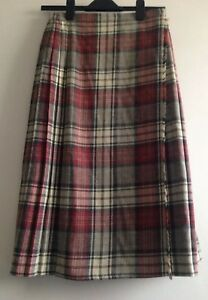 Vintage-80s-ST-MICHAEL-M-amp-S-Mix-Wool-Grey-Red-Cream-Plaid-Pleated-Long-Skirt-Kilt