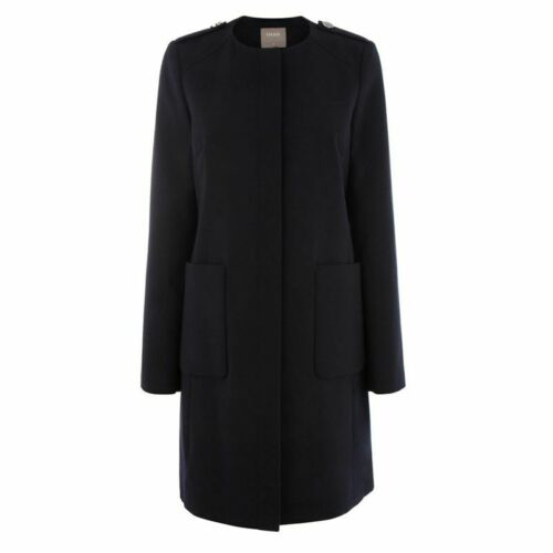 Oasis Navy Collarless Feminine Trench Occasion Dress Jacket Coat 6 to 16 New