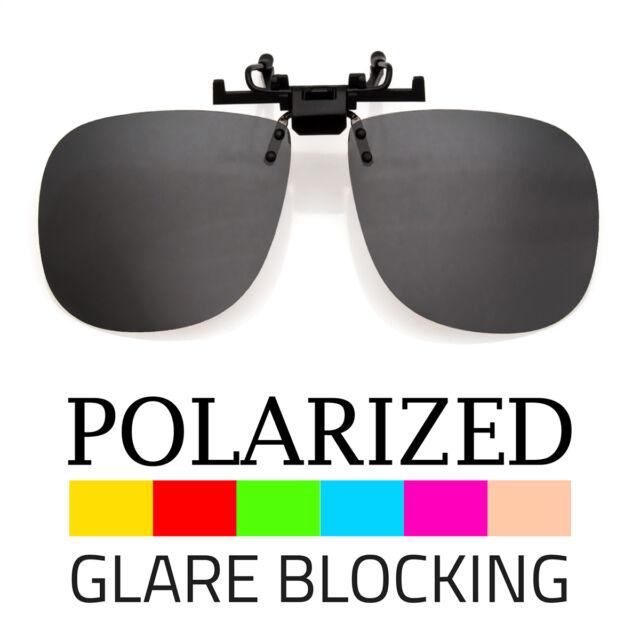 b45859b932 LARGE POLARIZED LENS GLARE BLOCK CLIP ON FLIP UP SUNGLASSES GLASSES DRIVING