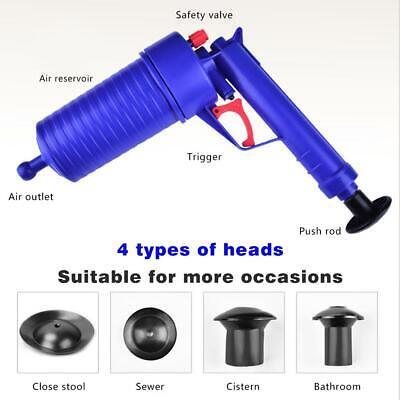 High Pressure Air Drain Blaster Pump Plunger Sink Pipe Clog Toilet Clean Tools