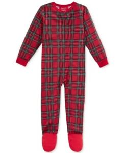 Family-PJ-039-s-Unisex-Baby-Boys-and-Girls-Holiday-Plaid-Footed-Pajamas-Red