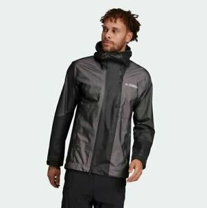 Adidas Waterproof Primeknit Rain Jacket DZ2055 Men's Size Medium - Black