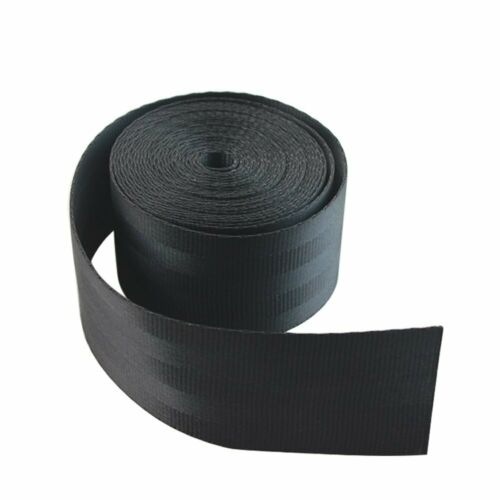 1PC Black Safety Seat Belt Webbing Polyester Nylon Lap Strap 3.6x0.048x0.0012M