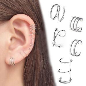 Clip de oreja dobladillo pendientes falso pendiente punk de cartílago en non-Piercing Mujer Hombre