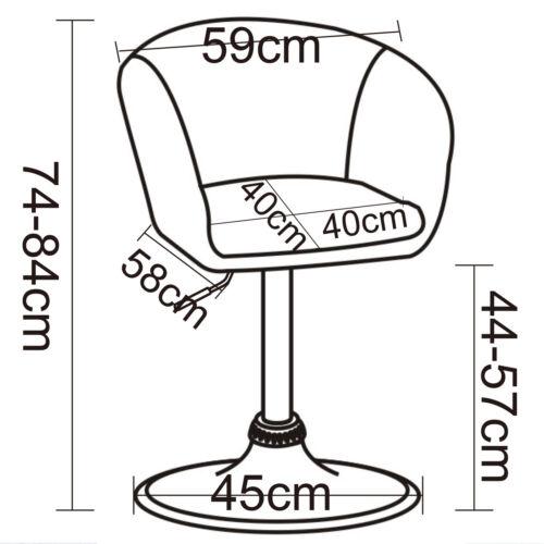 1 x Barsessel Drehsessel Loungesessel Sessel mit Lehne Leinen Chrom #726