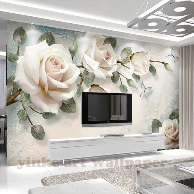 New 3d Wallpaper Mural Photo Custom White Rose Flowers Wall Home
