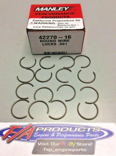 "Manley 42270-16 .827/"" 21mm Ford 4.6L 5.4L Wrist Pin Round Wire Locks Set Of 16"