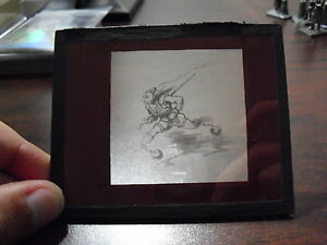 Unique-Antique-Glass-Negative-Art-Drawing-of-Man-with-Ball-and-Chains-Running