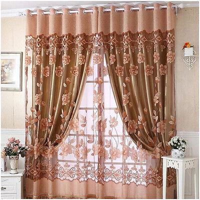3 Color Moderno Voile neto Única Ventana Puerta Panel De Cortina Plain floral