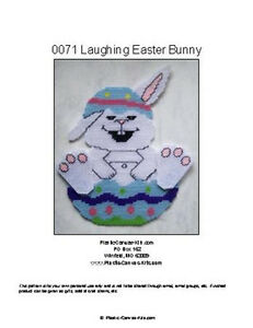 Laughing Easter Bunny in Egg-Plastic Canvas Pattern or Kit
