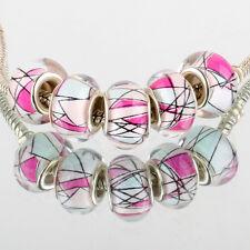 Geometry 5pcs SILVER MURANO glass bead LAMPWORK For European Charm Bracelet DIY