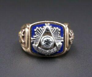 14k-GOLD-MASONIC-MASON-Ring-Diamant-Blau-Emaille-Groesse-9-Scottish-Rite-rg2280