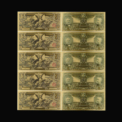 5pcs 1896 Year Usd 2  24k New Us Banknotes Bill Gold Banknote Christmas Present