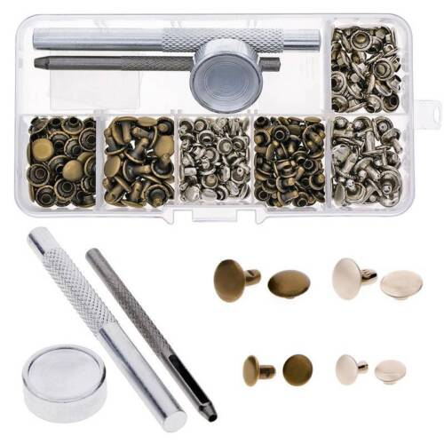120 pcs//Set Rivets Single Cap Rivet Tubular Tools Kit Leather Fixing Studs Metal