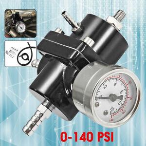 Universal-Adjustable-Aluminum-Fuel-Pressure-Regulator-0-140-Psi-Oil-Gauge-Hose