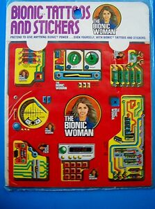 VINTAGE-1976-BIONIC-TATTOOS-AND-STICKERS-BIONIC-WOMAN-Kenner-MIP-NEW