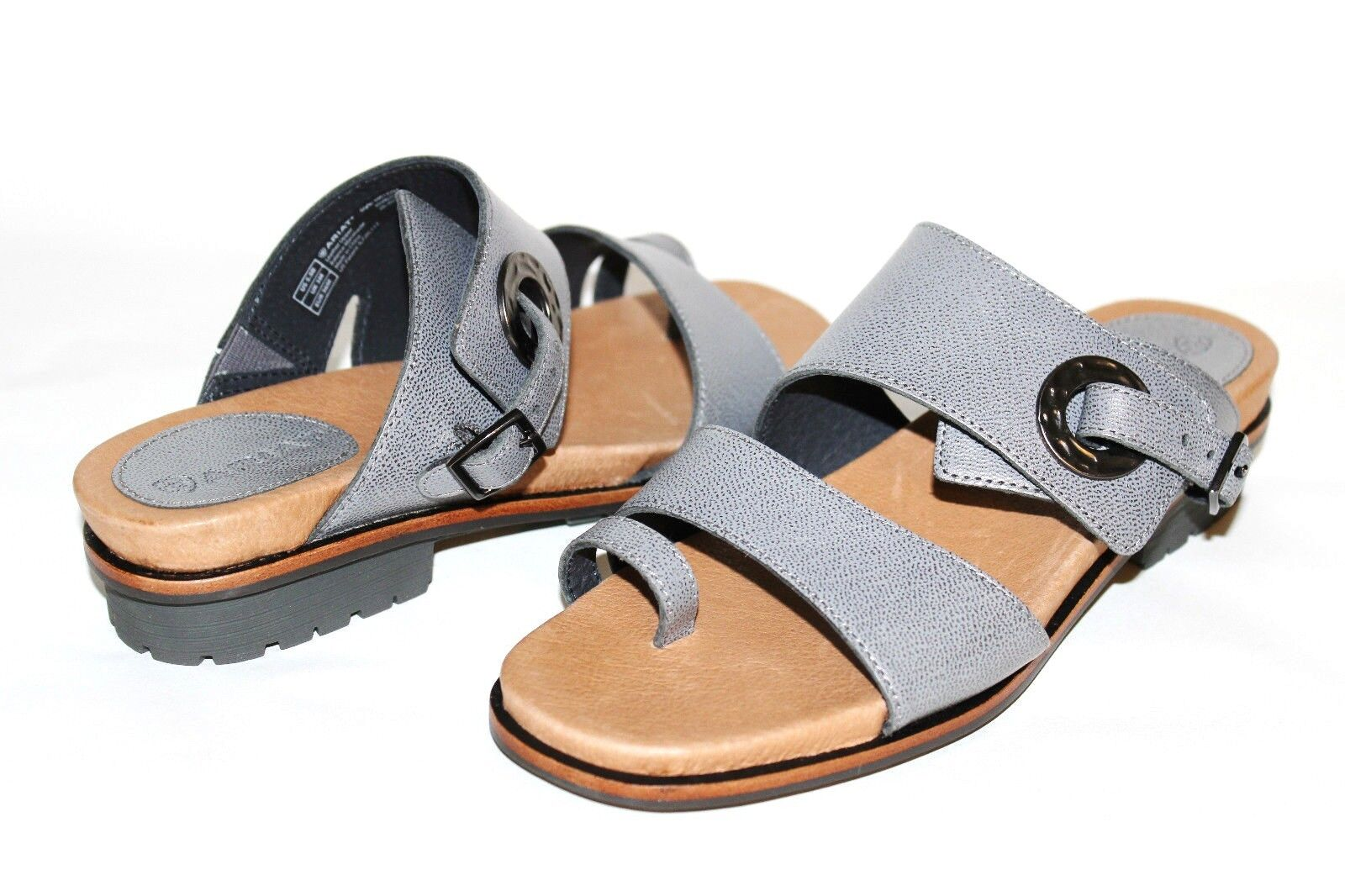 ARIAT Kailey Pewter Premium Leather Toe-Ring Comfort Sandal 5.5 B NEW  L@@K G2