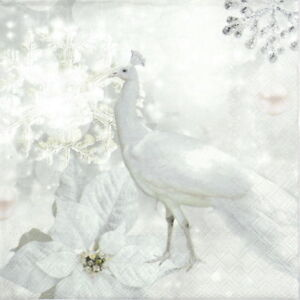 4x Paper Napkins for Decoupage Decopatch Craft White Unicorns