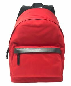 NEW-MENS-MICHAEL-KORS-KENT-CRIMSON-RED-NYLON-LEATHER-BACKPACK-BOOKBAG-BAG