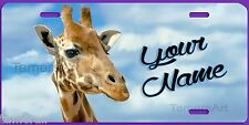 GIRAFFE PAINTING ART LICENSE PLATE PERSONALIZED, Made in USA