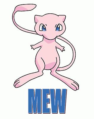 Pokemon - MEW T shirt Iron on Transfer 8x9- 5x6 -3x3 light fabric