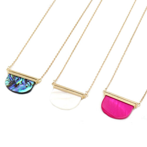 Gold Plated Semicircle Shell Stone Pendant Necklace New