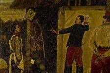 Peinture v 1900 Soldat faisant le portrait de son camarade Amusements de caserne