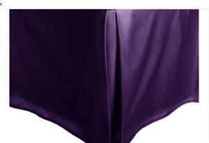 Purple-Solid-Faux-Silk-Bed-Skirt-King-Size-Dust-Ruffle-Bedding-14-034-Drop