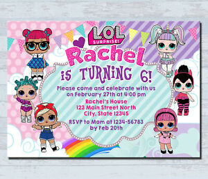 Details About Personalized Lol Doll Invitations Kids Birthday Invitation Party Invites Card