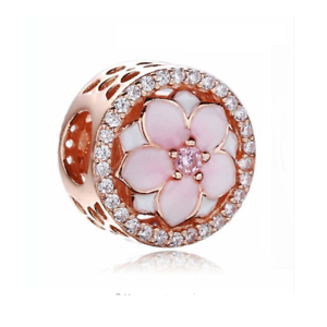 258d87c5c2754 Details about S925 Silver Charm 14K Rose Gold PL Magnolia Blossom Flower by  Pandora's Angels