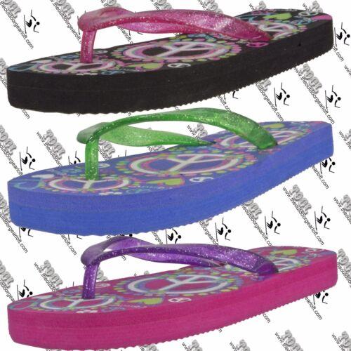 2//3 BEACH BASICS 211442G YOUTH GIRLS PEACE PRINT EVA FLIP FLOP THONG US LARGE