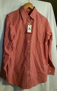 Antigua-Women-039-s-Red-White-Button-down-Long-Sleeve-Woven-Dress-Shirt-Size-2XL-New