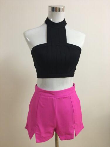 Silver Wishes Brand Hot Pink Split Hem High Waisted Short BNWT #TU03