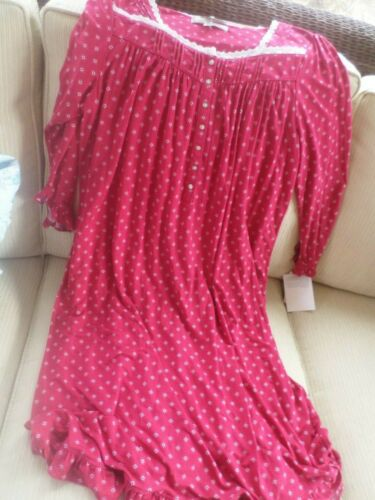 Eileen West Red Floral So Soft Knit Modal Gown M NWT
