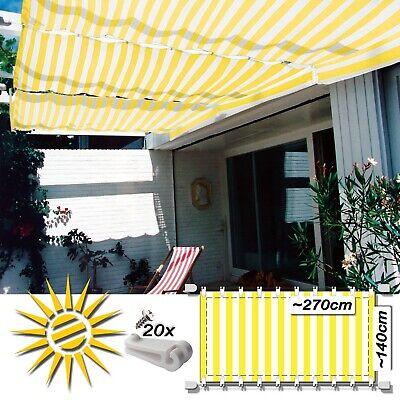 Seilspannmarkise Gelb Weiss Ca. 270x140 Cm Pergola Komplett Set Mit 20 Laufhaken