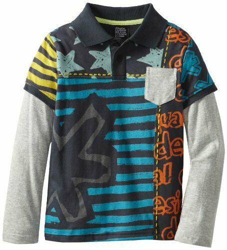 DESIGUAL Boy multicoloured star /& stripe long sleeved polo 4 11//12 13//14yrs