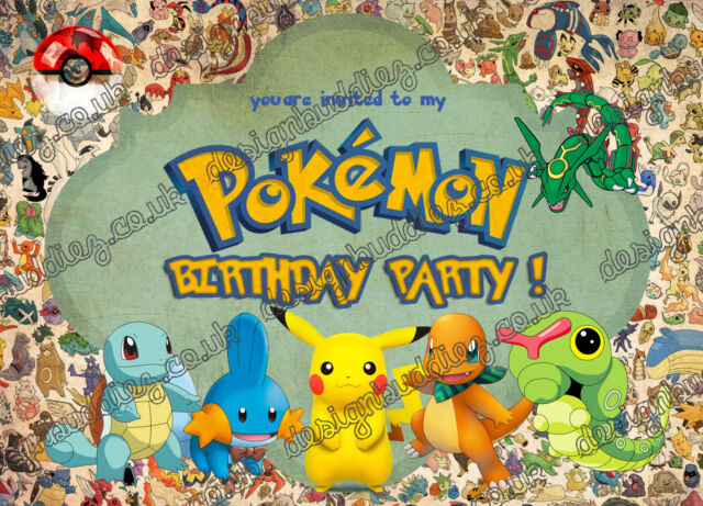 Pokemon Go Birthday Party InvitationsPokemonPokemon X 10 CARDS Envelopes