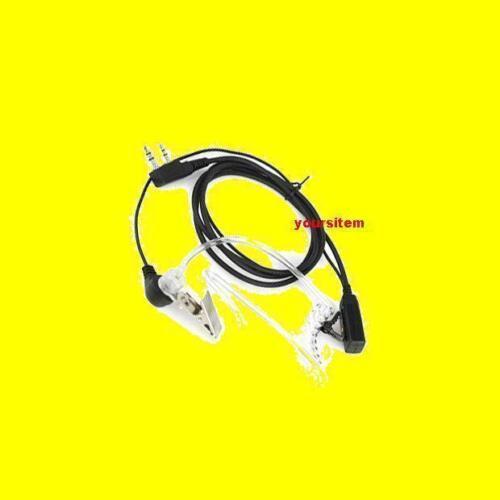 FBI Headset Covert Earpiece Acoustic Tube PTT  for KENWOOD 2Pin Radio w Mic Clip