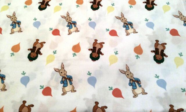 PETER RABBIT FABRIC cotton fabric DISNEY FABRIC RABBITS & RADISHES TOSS BTY  NEW